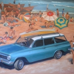 1964 EH Holden on Manly Beach