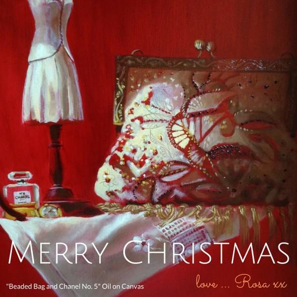 MERRY CHRISTMAS Beaded Bag and Chanel No. 5