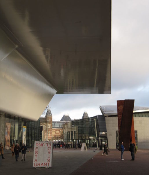Stedelijk_VanGogh_Rijksmuseum. From here, you can see the entrances to the Stedelijk Museum (foreground), Van Gogh Museum (middle) and Rijksmuseum (background). Courtesy of Jennifer S. Alderson